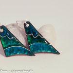 Boucles d'oreille sur cuivre texturé : 35 €