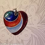 Coeur sur cuivre texturé, fil d'argent : 45 €