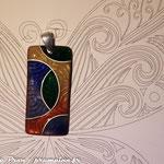Pendentif sur cuivre texturé, fil d'argent : 45 €