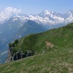 Ausblick vom Passo dei Gialit zum Weissmies, Lagginhorn, Fletschhorn