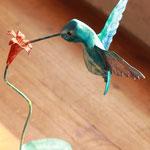 colibri sur sa fleur h=14 cm