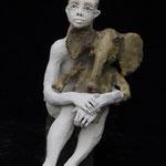 fille blanche et l´éléphant 2018 Terracotta 50 x 35 x 68 cm