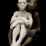 la fille et le loup 2019 Terracotta 57 x 37 x 30 cm