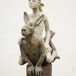 La femme et le lièvre 2019 Terrakotta  70 x 50 x 28 cm