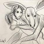 la fille et kangourou 2020 Bleistift auf Papier  27 x 29 cm