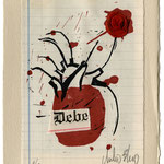 Xilografía CORAZÓN DEBE. Dos tintas, lacre y collage. 14 x 20 cm. Edición numerada de 10 ejemplares firmados por el autor.