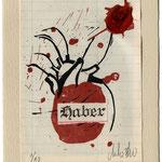 Xilografía CORAZÓN HABER. Dos tintas, lacre y collage. 14 x 20 cm. Edición numerada de 10 ejemplares firmados por el autor.