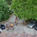 Jeden Morgen vom Hotel zum Start in Bozen...