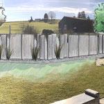 Visualisierung des Sichtschutzes, 1x im Garteninnern