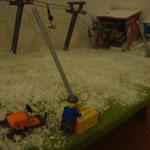 Schneemacher bei der Schaltung einer Schneilanze