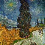 Vincent van Gogh: Zypressenweg unter dem Sternenhimmel, 1890