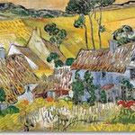 Vincent van Gogh: Strohgedeckte Häuser vor einem Hügel, 1890