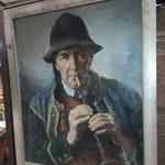 """Peinture sur toile joueur de biniou """"L.G Vallée"""""""