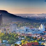 Jena, Blick vom Landgraf zum Sonnenaufgang