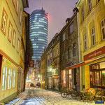 Jena, Wagnergasse und Jentower im Winter