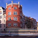 Jena, Roter Turm mit Straßenbahn