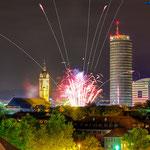 Jena, Feuerwerk zum Frühlingsfest, Altstadtfest