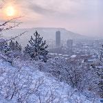 Blick vom Landgraf auf Jena im Winter