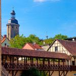 Jena, Haus auf der Mauer und Johannistor