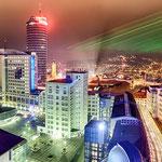 Laser zur langen Nacht der Wissenschaft in Jena, Jentower, Uniturm