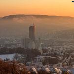 Jena, Sonnenaufgang von der Wilhelmshöhe über Jena