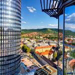 Jena, Blick vom B59 auf den Jentower