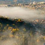Jena, Nebel über der Stadt