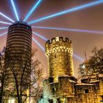 Lasershow am Jentower / Uniturm in Jena