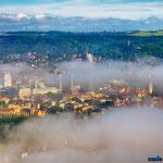 Jena, Jentower, Uniturm im Nebel
