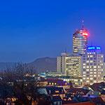 Skyline von Jena zur Blauen Stunde