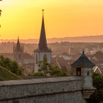 Sonnenaufgang am Petersberg in Erfurt