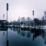 Flutlichter am Ernst-Abbe-Sportfeld in Jena