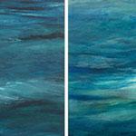 2012  Serie vom Wasser,  Acryl auf Papier je 40x40cm