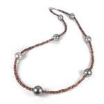 Collier mit 7 Tahiti-Perlen und naturfarbenen Zirkonen