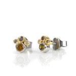 Ohrstecker in Platin und Gelbgold mit naturfarbenen Diamanten
