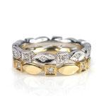 Zwei Memoire-Ringe im Art-Deco-Stil, Gelbgold und Weißgold