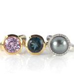 Ringe in Rosé- und Weißgold mit Kunzit, London-Blue Topas und Tahiti-Zuchtperle