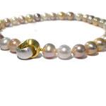Collier mit Süßwasser-Zuchtperlen multicolor und schönem Verschluß in Silber