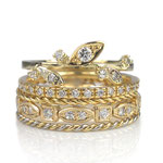 Romantische Ringe in Gelbgold mit Brillanten zum Kombinieren
