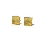 Ohrstecker quadratisch in Gelbgold mit zwei Vollschliff-Brillanten à 0.01 ct.