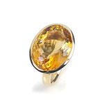 Ring in Gelbgold mit 18 x 13.5 mm großen Citrin