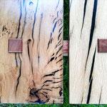 Particolare del piano in quercia e resina