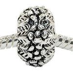 """""""Blumen"""", Perle veredelt mit 925 Sterling Silber, versilbert, 8 x 13 mm, Loch 4,5 mm"""