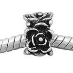 """Rosenblüten"", Perle veredelt mit 925 Sterling Silber, versilbert, 6 x 9 mm, Loch 4,5 mm"