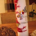 Rote Rankenkerze mit Tauben 75.00 (Spezialmasse)