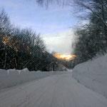 die Schneefahrbahn ins Bedretto