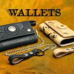 Verschiedene Wallets, handgenäht und aufwendig punziert