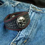 Armband Skull, Leder mit Skull-Concho