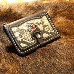 Wallet mit Pythonleder und Harley-Pin
