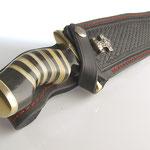 Jagdmesser, Bowiemesser, Damaststahl mit Messing- Büffelhorngriff